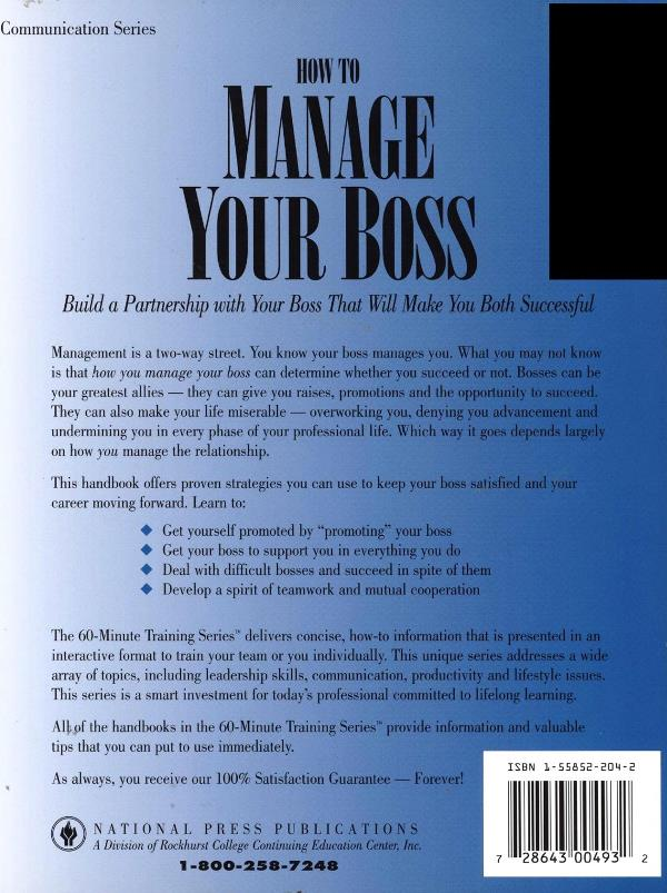 how to manage your boss back cover
