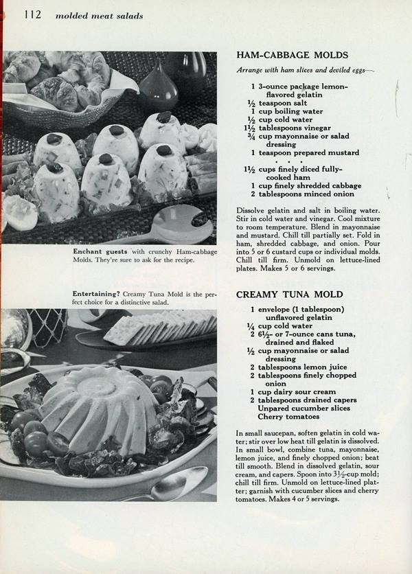 ham and cabbage molds