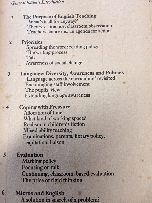 English Department contents