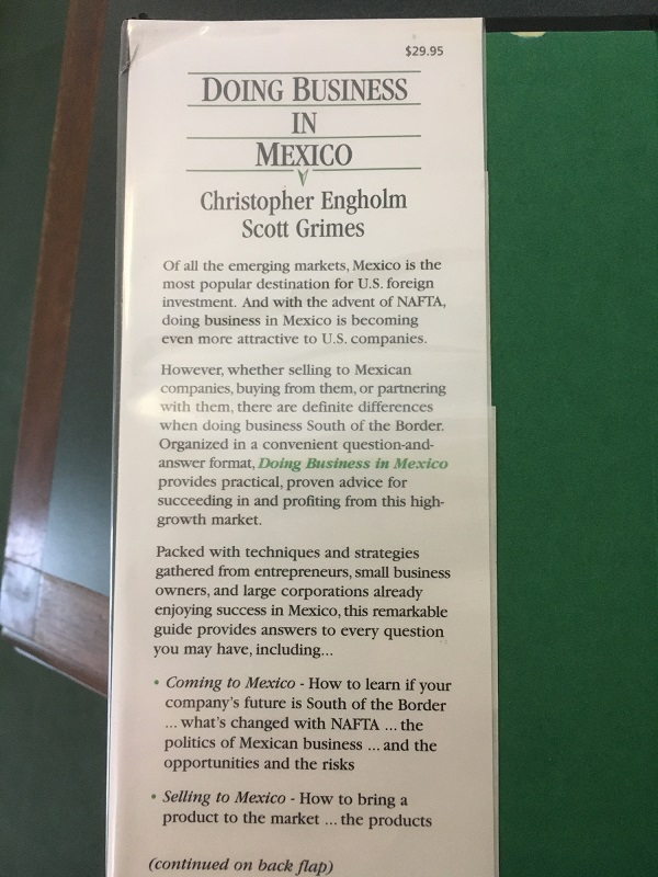 Business in Mexico front flap