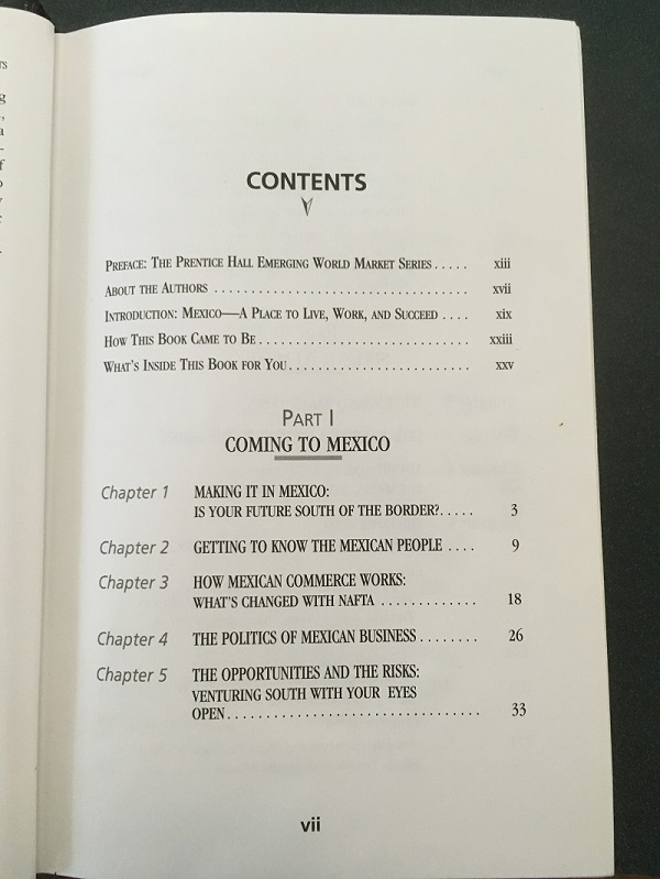 Business in Mexico contents