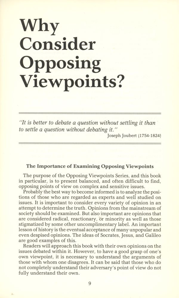 why consider opposing viewpoints