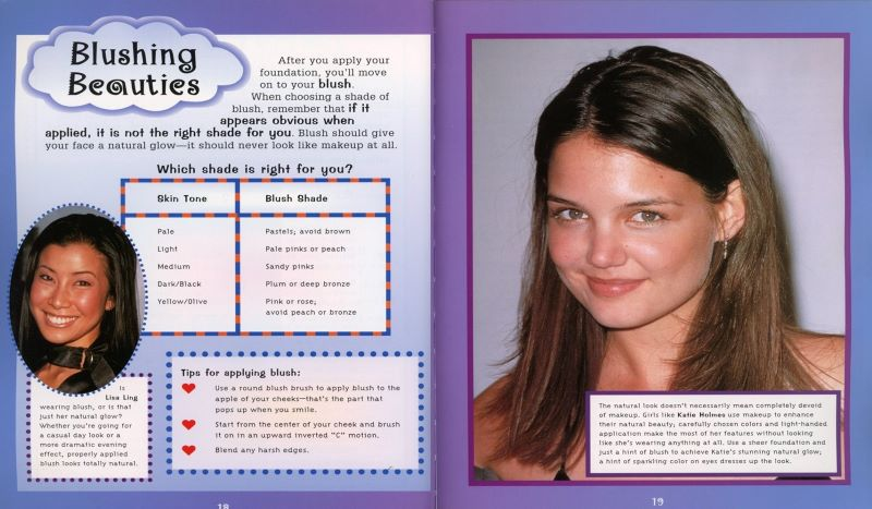 using blush with Katie Holmes