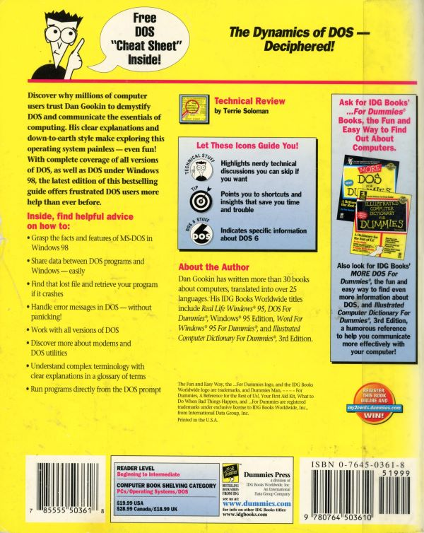 dos for dummies back cover