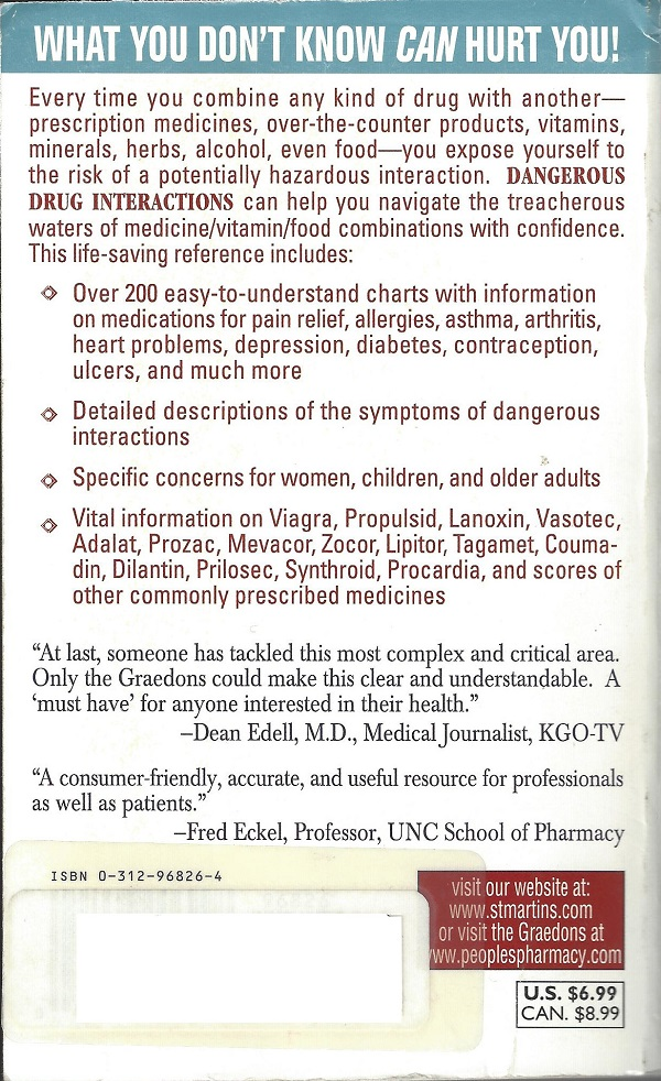 Dangerous Drug Interactions back cover