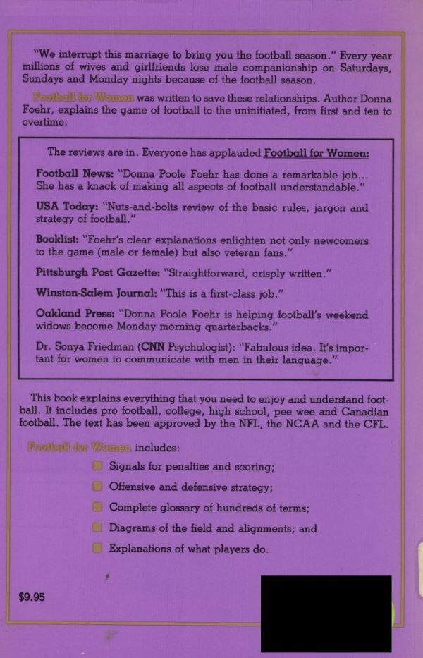 back cover of football for women