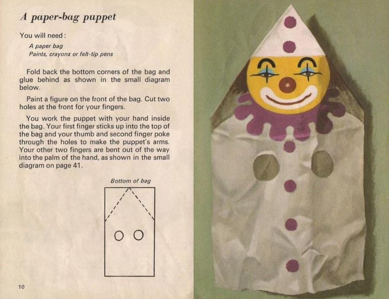 Paper bag puppet clown