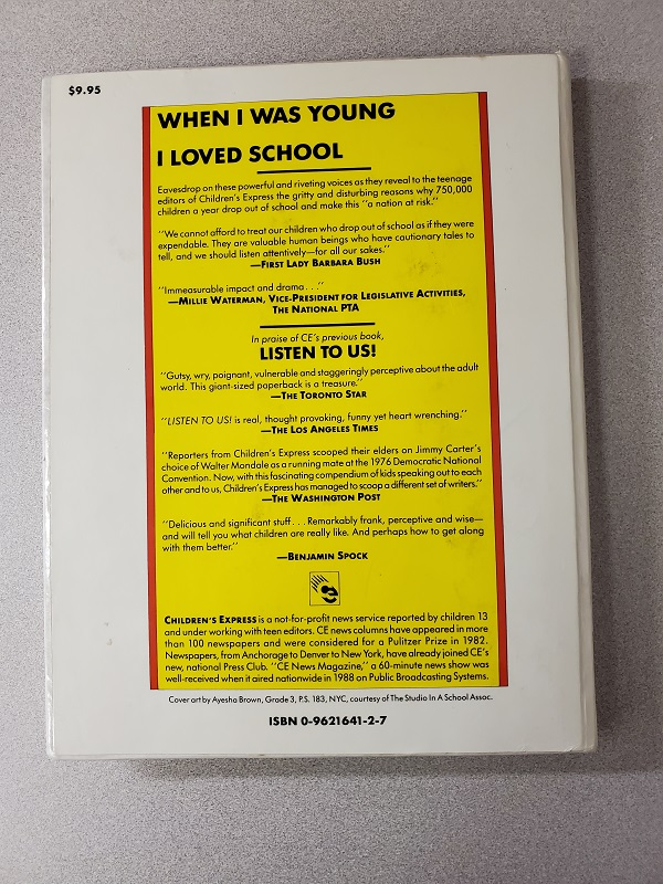 When I Was Young I Loved School back cover